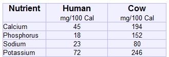 Milk human cow nutrient content